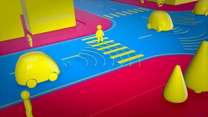 Une voiture autonome futuriste en ville