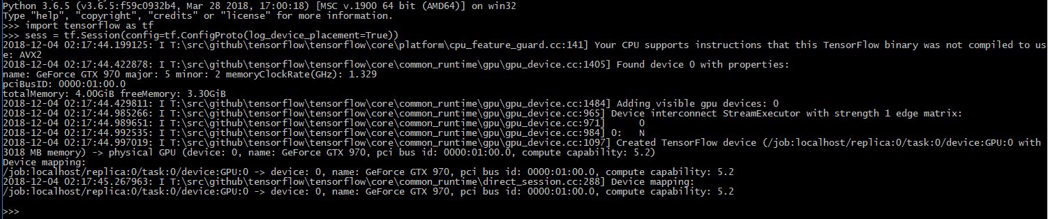 tensorflow gpu device found