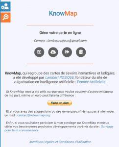 menu utilisateur knowmap